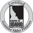 CERTIFIED 100% IDAHO POTATOES GROWN IN IDAHO with a map of Idaho within a circular border